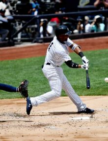 Yankees DH Miguel Andujar hits a two run home run in the first inning
