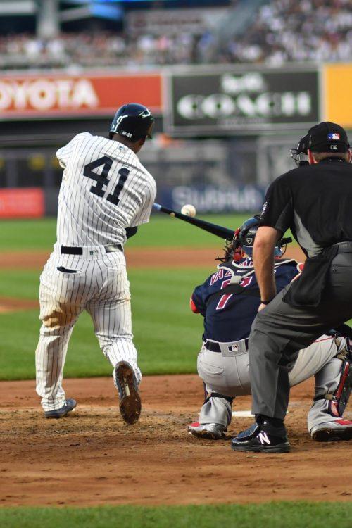 Yankees rookie third baseman Miguel Andujar hits a two-run home run