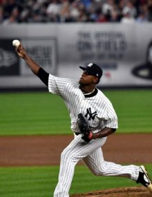 Yankees starting pitcher Luis Severino pitches his 99th and last pitch to Boston