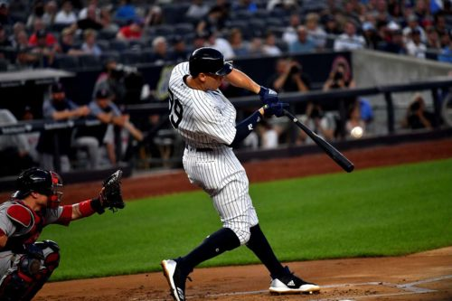 Yankees right fielder AARON JUDGE hits his 22nd home run
