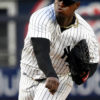 New York Yankees starting pitcher Luis Severino throws a home run pitch