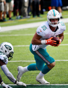 Miami Dolphins tight end A.J. Derby receives a 19 yard pass