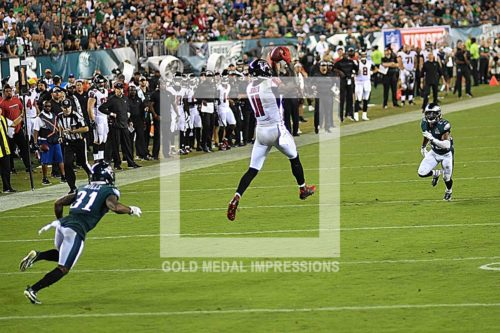 Atlanta Falcons wide receiver Julio Jones leaps into the air to receive a pass