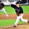 Boston Red Sox Steven Wright strikes out New York Yankees second baseman Gleyber Torres