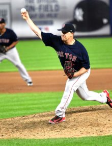 Boston Red Sox Steven Wright strikes out New York Yankees second baseman Gleyber Torres