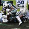Philadelphia Eagles running back WENDELL SMALLWOOD scores the winning touchdown