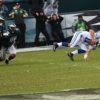 Philadelphia Eagles Derek Barnett trips up Colts quarterback Andrew Luck to preserve the Eagles win