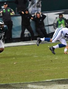Philadelphia Eagles Derek Barnett trips up Colts quarterback Andrew Luck to preserve the Eagles win