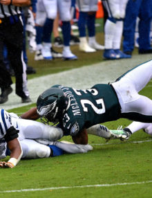 Philadelphia Eagles safety Rodney McCleod severely injures his leg while tackling Colts running back Nyheim Hines
