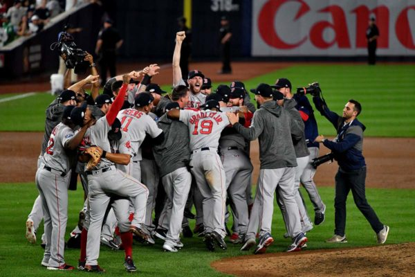 The Boston Red Sox celebrate winning the AL Division Series