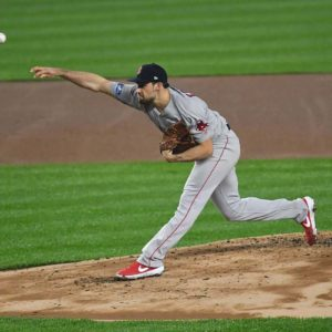 Boston Red Sox Nate Eovaldi, strikes out Yankees Luke Voit