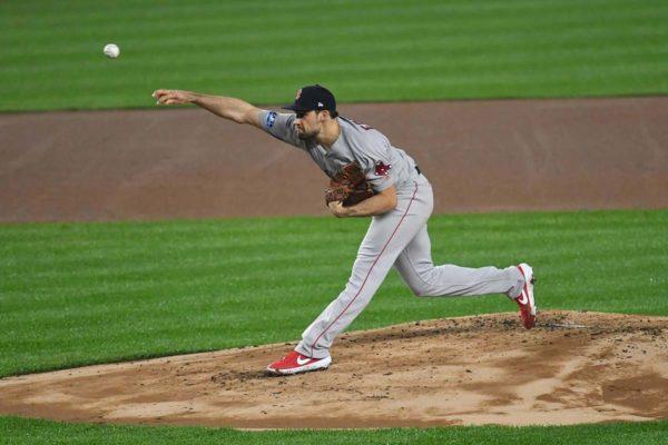Boston Red Sox Nate Eovaldi, strikes out Yankees Luke Voit