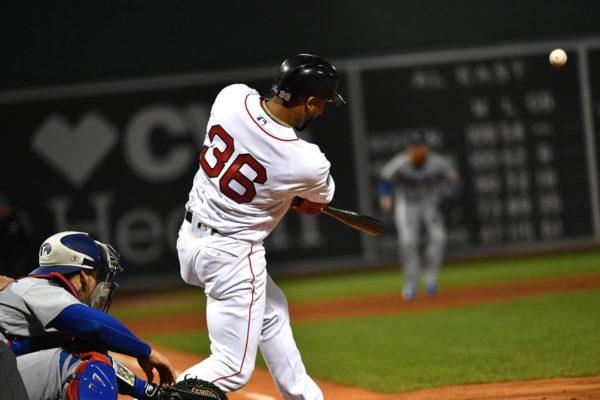 Red Sox third baseman Eduardo Nunez hits a three-run pinch hit home run