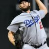 Dodgers starting pitcher Clayton Kershaw throws a strike
