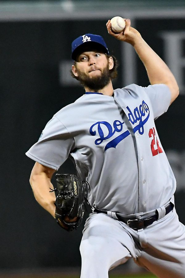 Dodgers starting pitcher Clayton Kershaw throws a strike