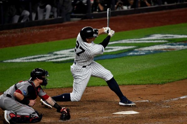 Yankess slugger Giancarlo Stanton strikes out in the ninth inning