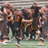 Princeton University football team celebrate their undefeated season defeating Penn 42-14. This was Princeton's first undefeated team in 54 years and the highest scoring Ivy League team in history.