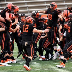 Princeton University football team celebrate their undefeated season