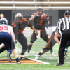 Princeton University star quarterback, JOHN LOVETT, takes the ball in the first quarter against Penn. LOVETT led his team to ther first undefeated season in 54 years, defeating Penn 42-14.