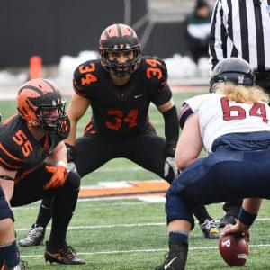 Princeton University middle linebacker Tom Johnson