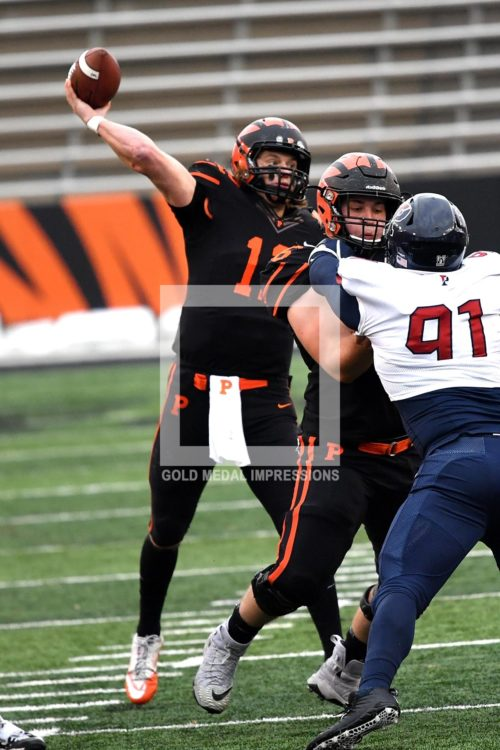 Princeton University quarterback John Lovett throws a touchdown pass