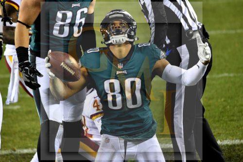 Eagles wide receiver JORDAN MATTHEWS celebrates after receiving a 4 yard touchdiown pass