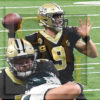 Saints Drew Brees throws the go-ahead touchdown pass to wide receiver Michael Thomas