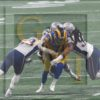 LA Rams quarterback Jared Goff sacked by the ferocious New England defense led by Kyle VanNoy and Adrian Clayborn