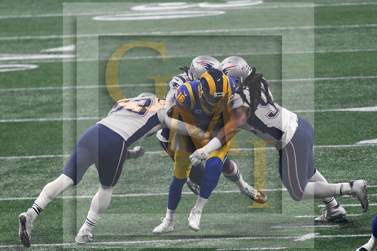 LA Rams quarterback Jared Goff sacked by the ferocious New England defense  led by Kyle VanNoy and Adrian Clayborn 1eea3643e