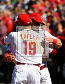 WELCOME Bryce: Philadelphia Phillies manager Gabe Kapler welcomes Bryce Harper to their home opener