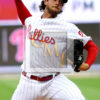 Phillies starting pitcher Aaron Nola throws his 98th and final pitch in the sixth inning