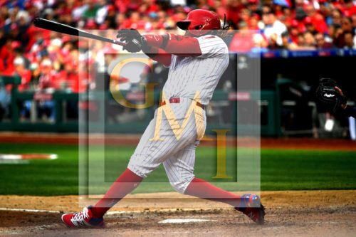 Philadelphia Phillies third baseman Maikel Franco hits a three-run home run in the sixth