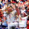 Philadelphia Phillies third baseman Maikel Franco celebrates hitting a three-run home run