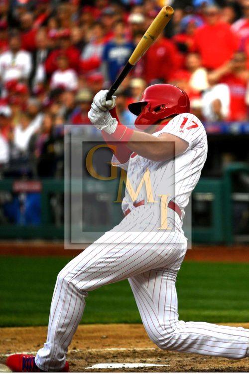 Philadelphia Phillies first baseman Rhys Hoskins hits his first grand slam home run