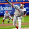 Philadelphia Phillies starting pitcher Vince Velasquez strikes out Mets Michael Conforto