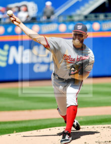 Washington Nationals starting pitcher Stephen Strasburg throws the first pitch of the game