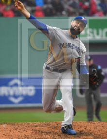 Toronto Blue Jays starting pitcher Matt Shoemaker strikes out Mitch Moreland