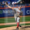 Washington Nationals starting pitcher Stephen Strasburg throws his 107th and final pitch