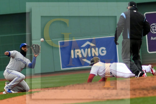 Boston Red Sox catcher Christian Vasquez is thrown out trying to steal second