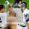 New York Yankees designated hitter Clint Frazier celebrates hitting a home run