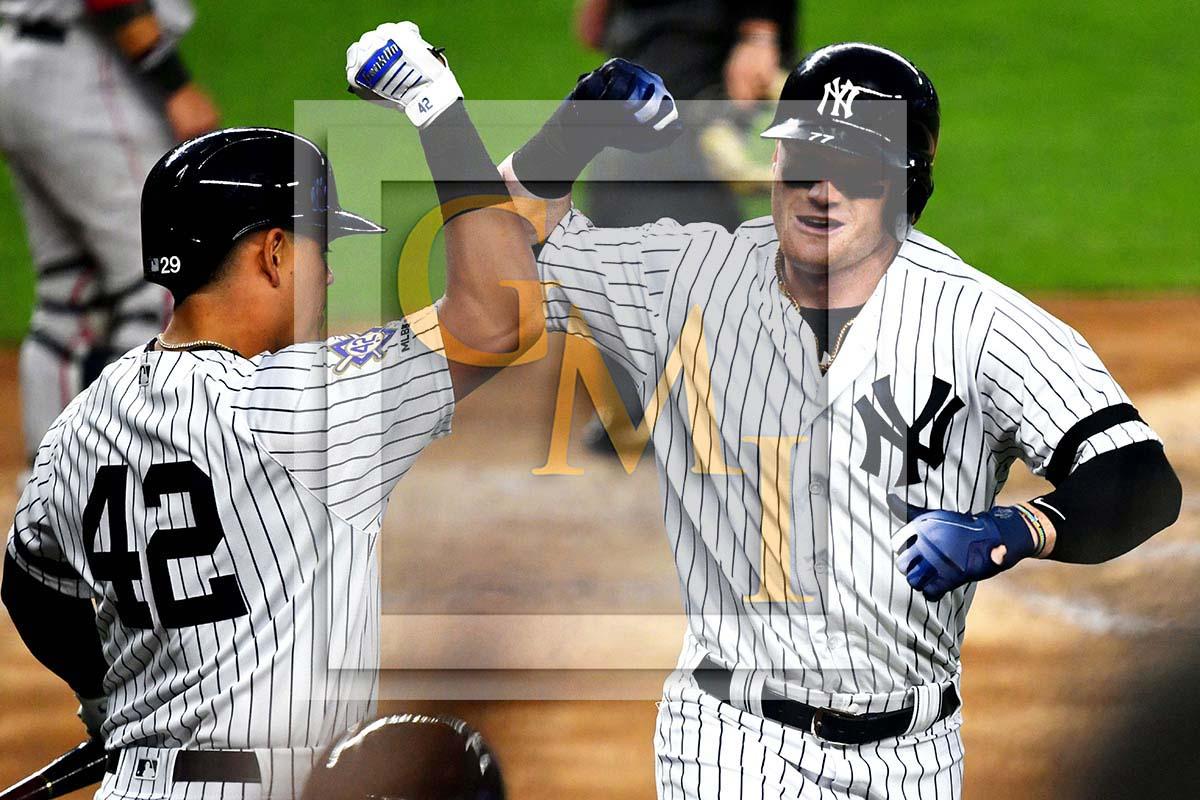 sale retailer 6bd5b 78cf1 New York Yankees designated hitter Clint Frazier celebrates hitting a home  run
