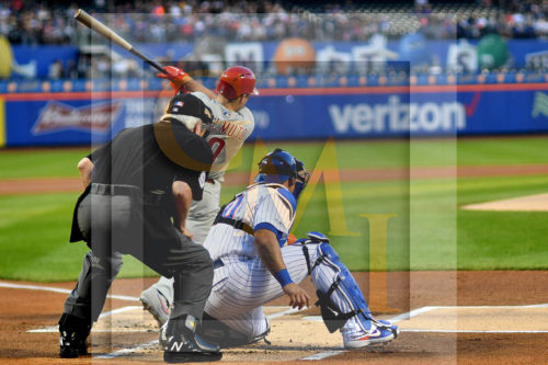 Philadelphia Phillies catcher JT Realmuto hits and RBI double in the first inning