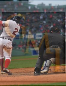 Boston Red Sox short stop Xander Bogaerts hits an RBI double in the bottom of the eighth