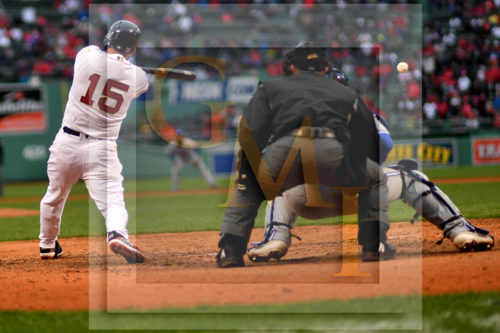 Boston Red Sox second baseman Dustin Pedroia hits a lead-off single in the top of the ninth