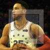 Philadelphia 76ers Ben Simmons holds the ball in the first quarter