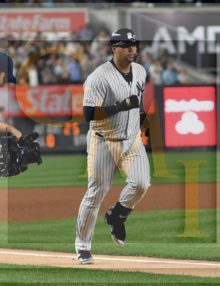 Yankees catcher Gary Sanchez rounds third base after hitting a tie-breaking home run