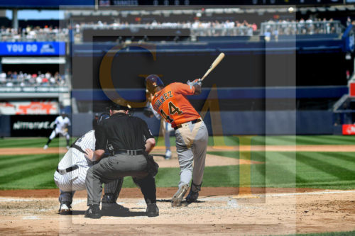 Houston Astros Designated hitter Yordan Alvarez hits a two-run home run