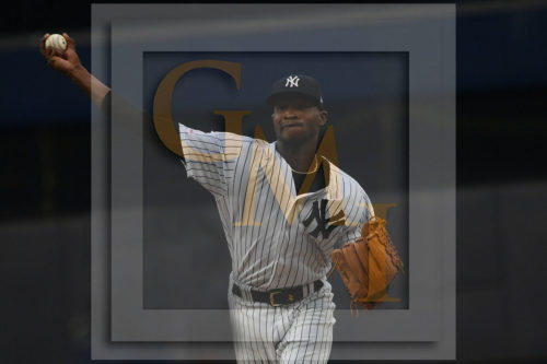 Yankees starting pitcher Domingo German throws a strike to Mookie Betts
