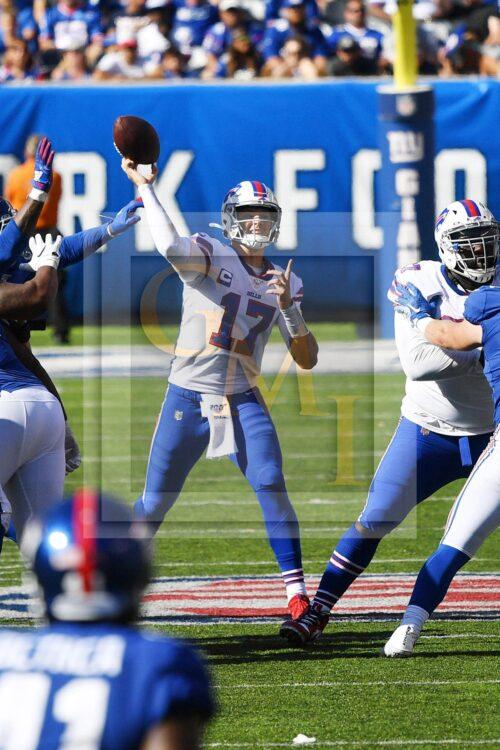 Buffalo Bills quarterback Josh Allen throws a pass downfield
