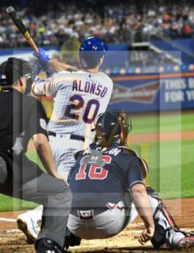 Mets rookie first baseman Pete Alonzo hits his record breaking 53rd home run